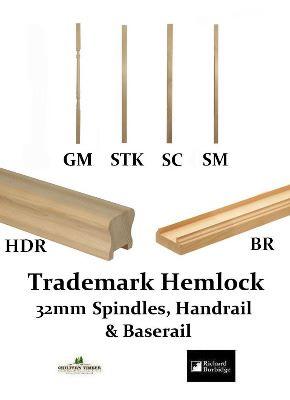 Trademark 32mm Hemlock Heavy Duty Handrail Baserail