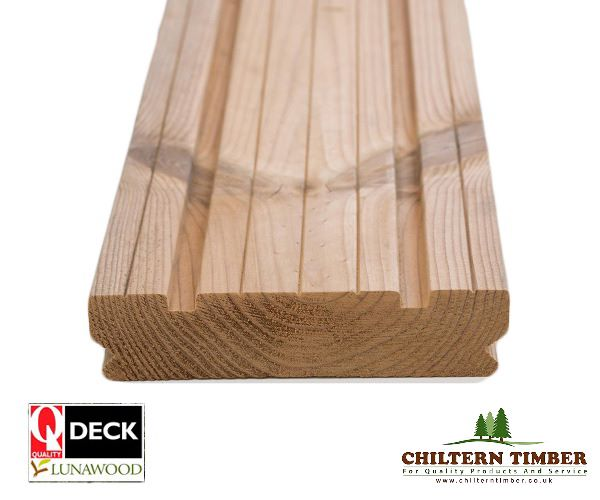 Softwood decking lunawood thermowood decking 26 x 117mm for Softwood decking boards