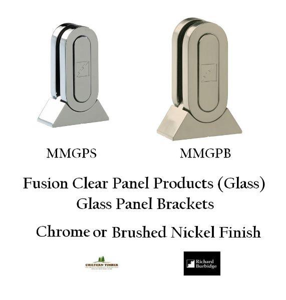 Brushed Nickel Pack of 2 Richard Burbidge MMGPB2 Fusion Glass Brackets