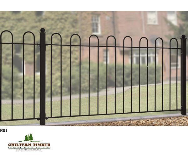 Court hoop top metal fence panel chiltern timber