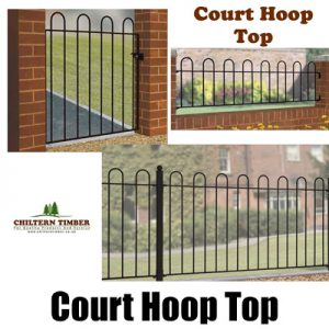 Court Hoop Top Metal Gate, Railing & Fence Panel