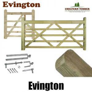 Evington Wooden Field 5 Bar Gates & Posts