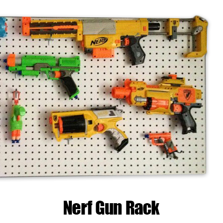 DIY Nerf Gun Storage Wall. All for less than $50. The perfect gift for