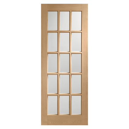 Internal Door Oak Sa77 With Clear Bevelled Glass Chiltern Timber