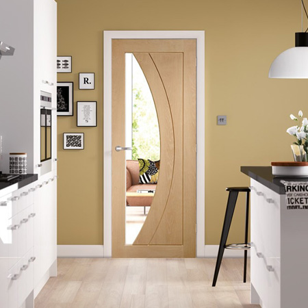 Internal Door Oak Salerno With Clear Glass Chiltern Timber