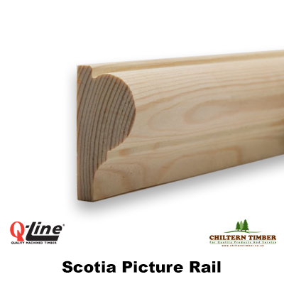 Timber Mouldings Scotia Picture Rail 20 X 44mm Chiltern Timber